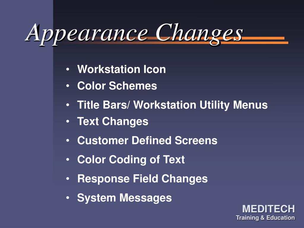 Appearance Changes