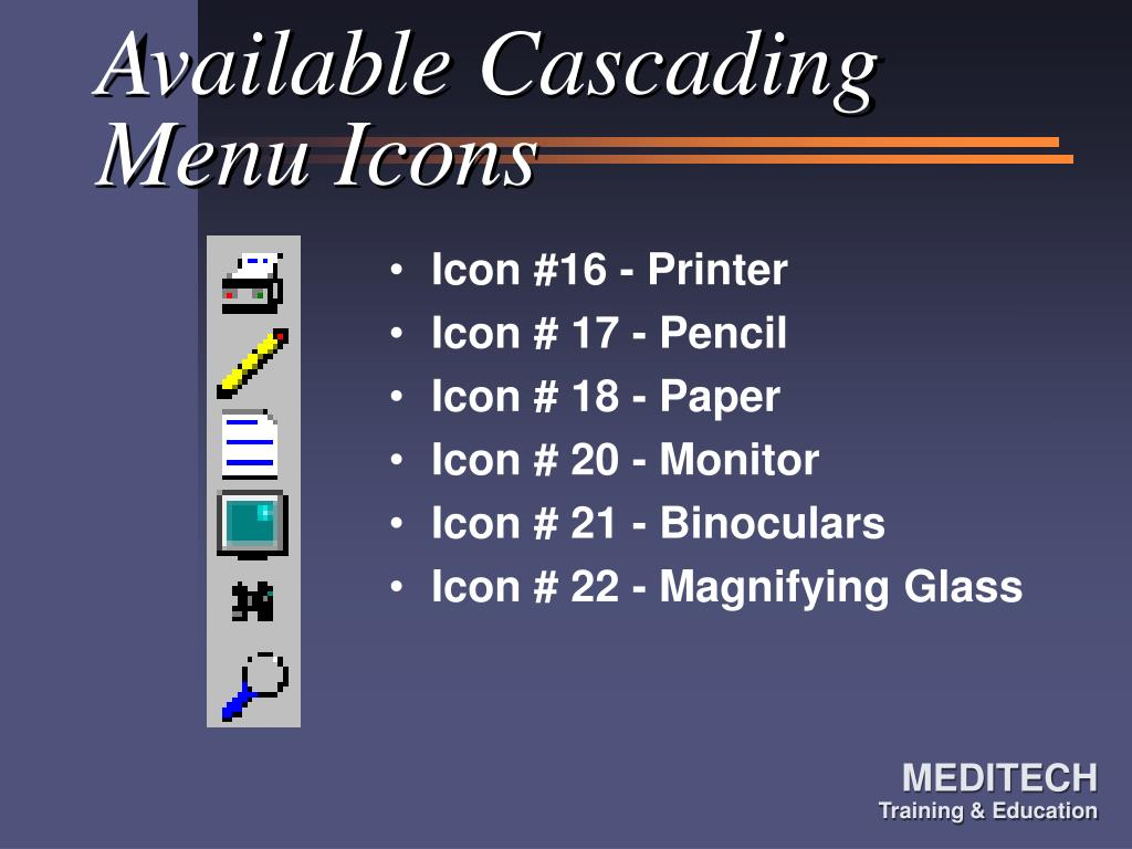 Available Cascading Menu Icons