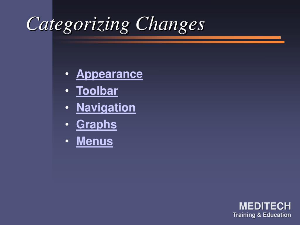 Categorizing Changes
