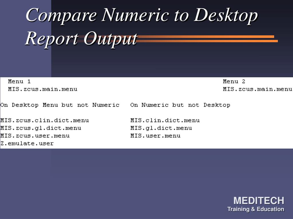 Compare Numeric to Desktop Report Output