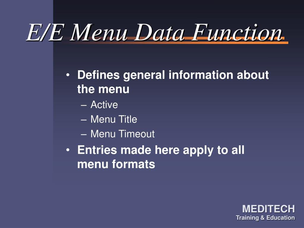 E/E Menu Data Function