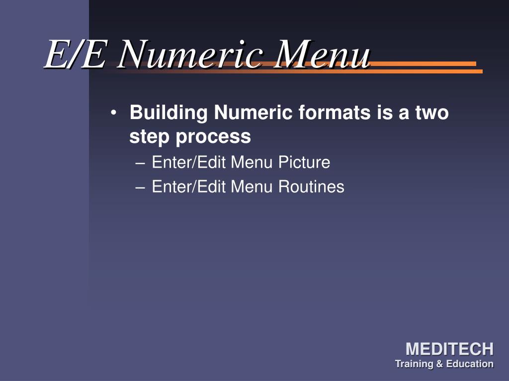 E/E Numeric Menu