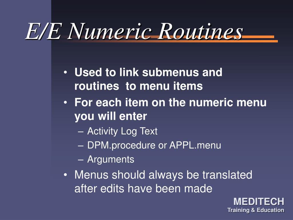 E/E Numeric Routines