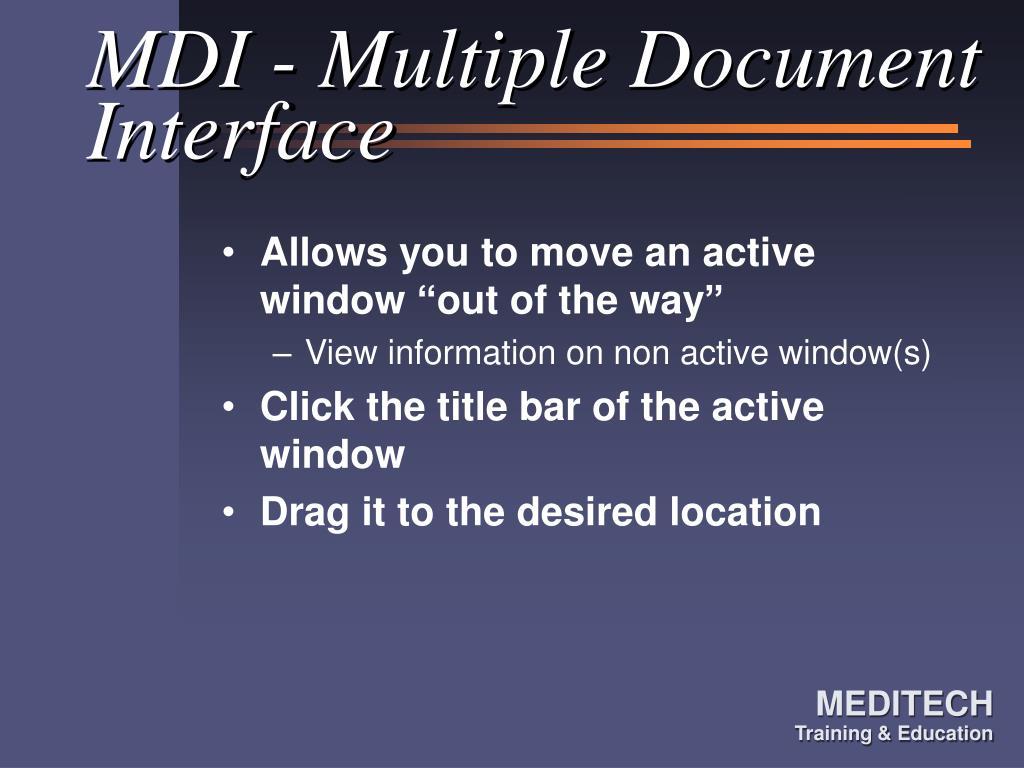 MDI - Multiple Document Interface