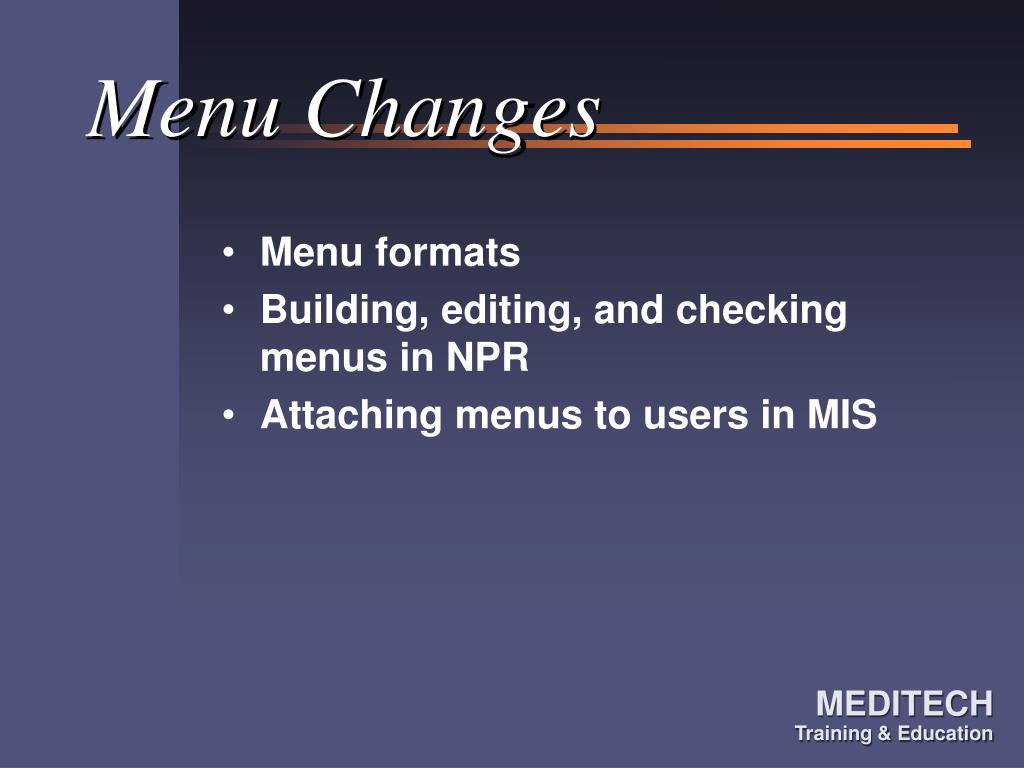 Menu Changes