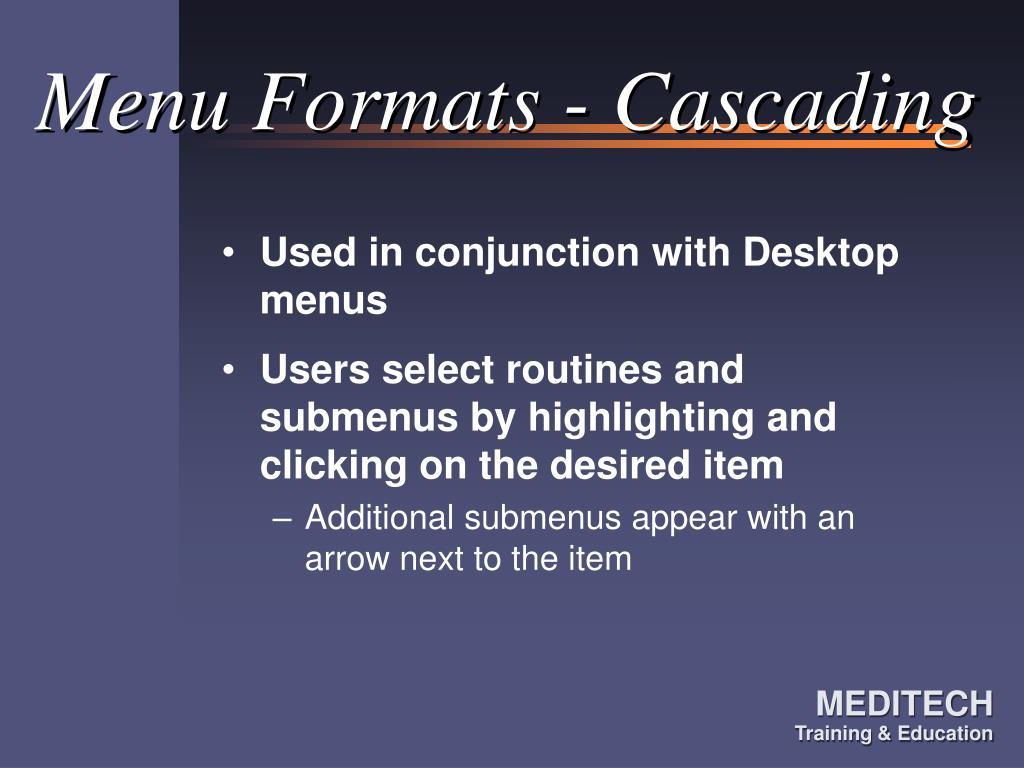 Menu Formats - Cascading