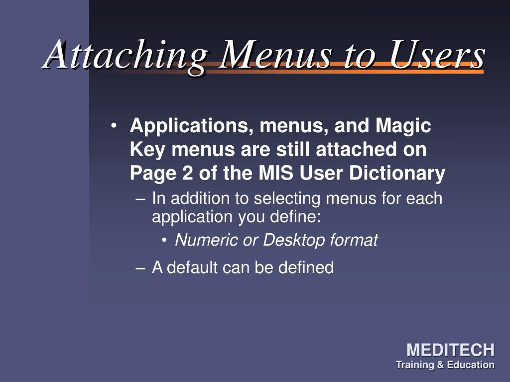 Attaching Menus to Users