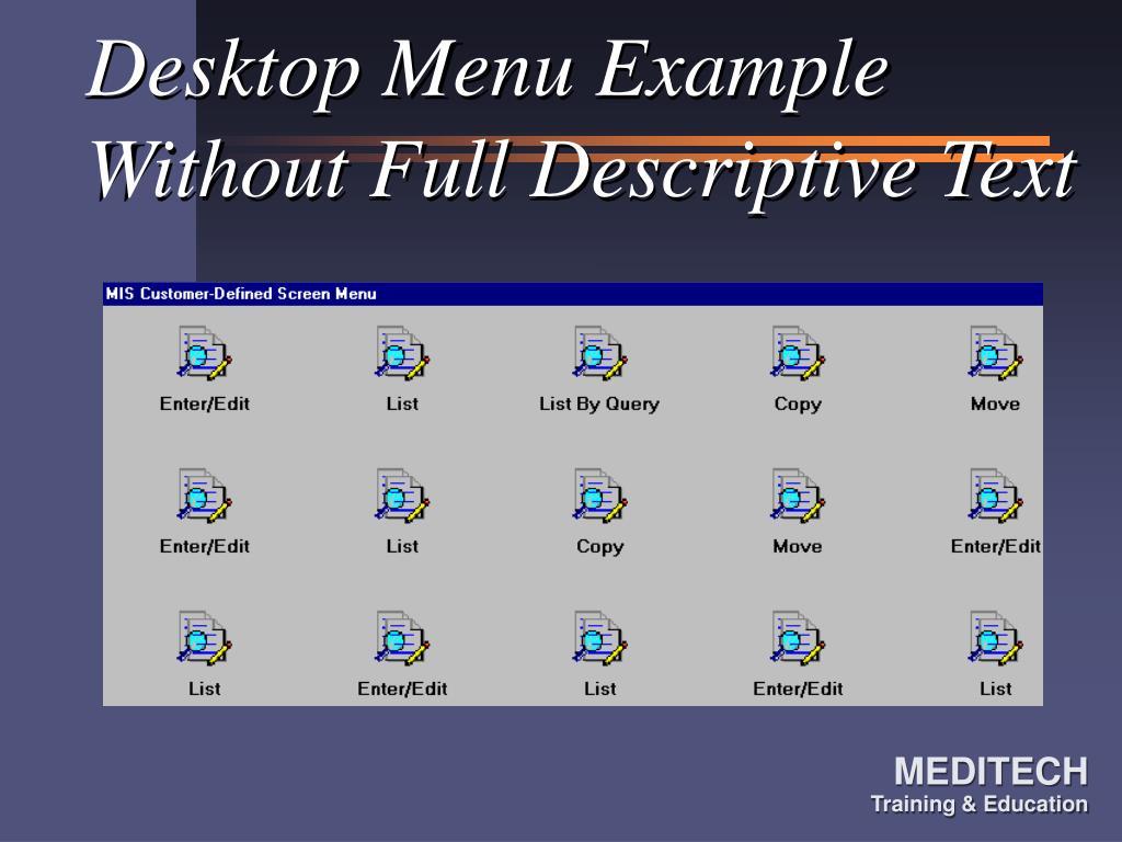 Desktop Menu Example Without Full Descriptive Text