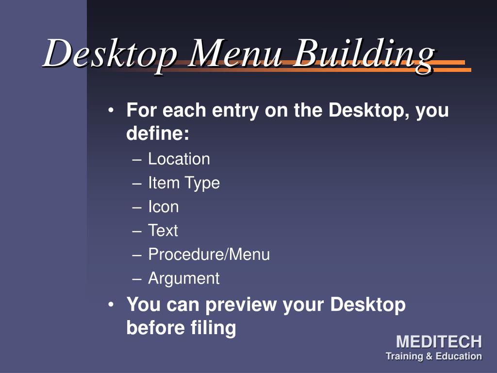 Desktop Menu Building