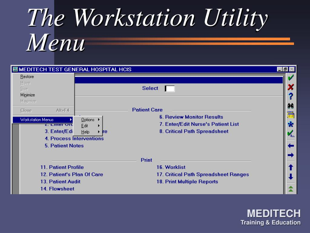 The Workstation Utility Menu