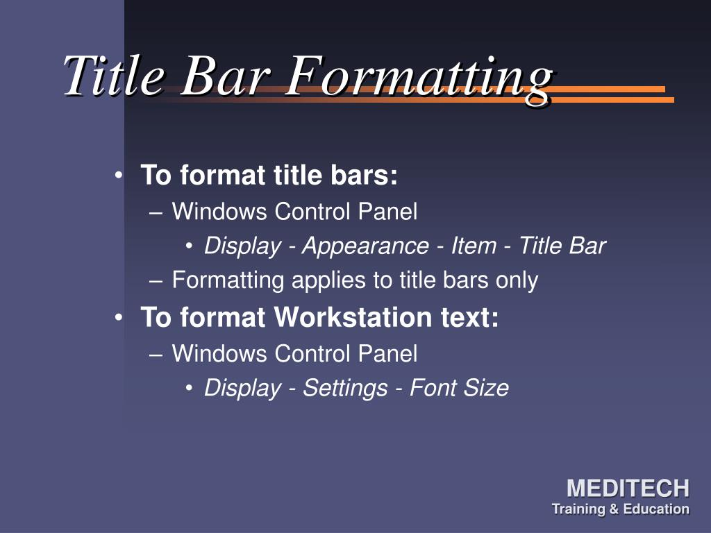Title Bar Formatting