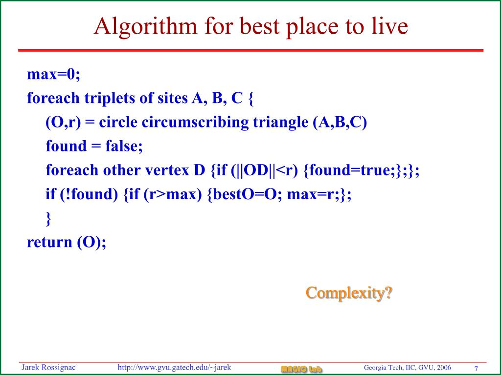 Algorithm for best place to live