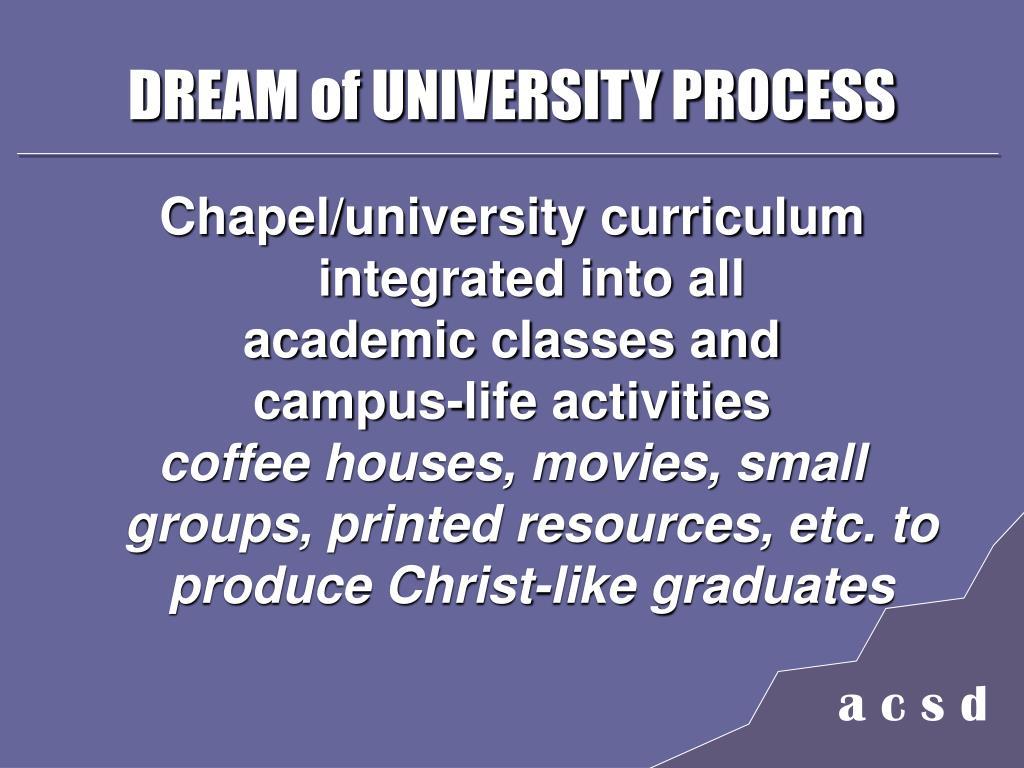 DREAM of UNIVERSITY PROCESS