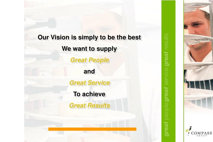 Our Vision is simply to be the best