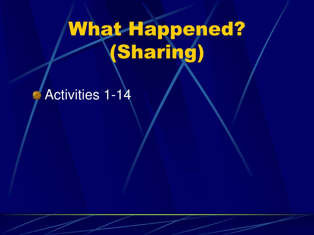 What Happened? (Sharing)