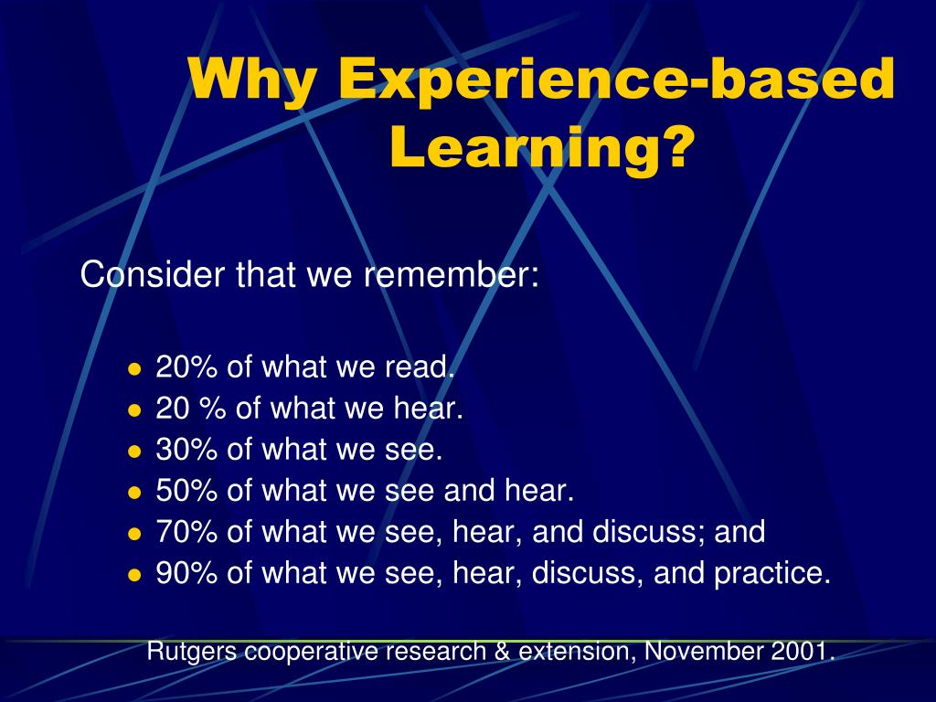 Why Experience-based Learning?
