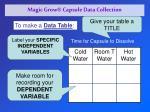 magic grow capsule data collection
