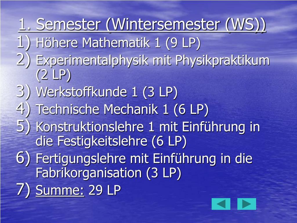 1. Semester (Wintersemester (WS))