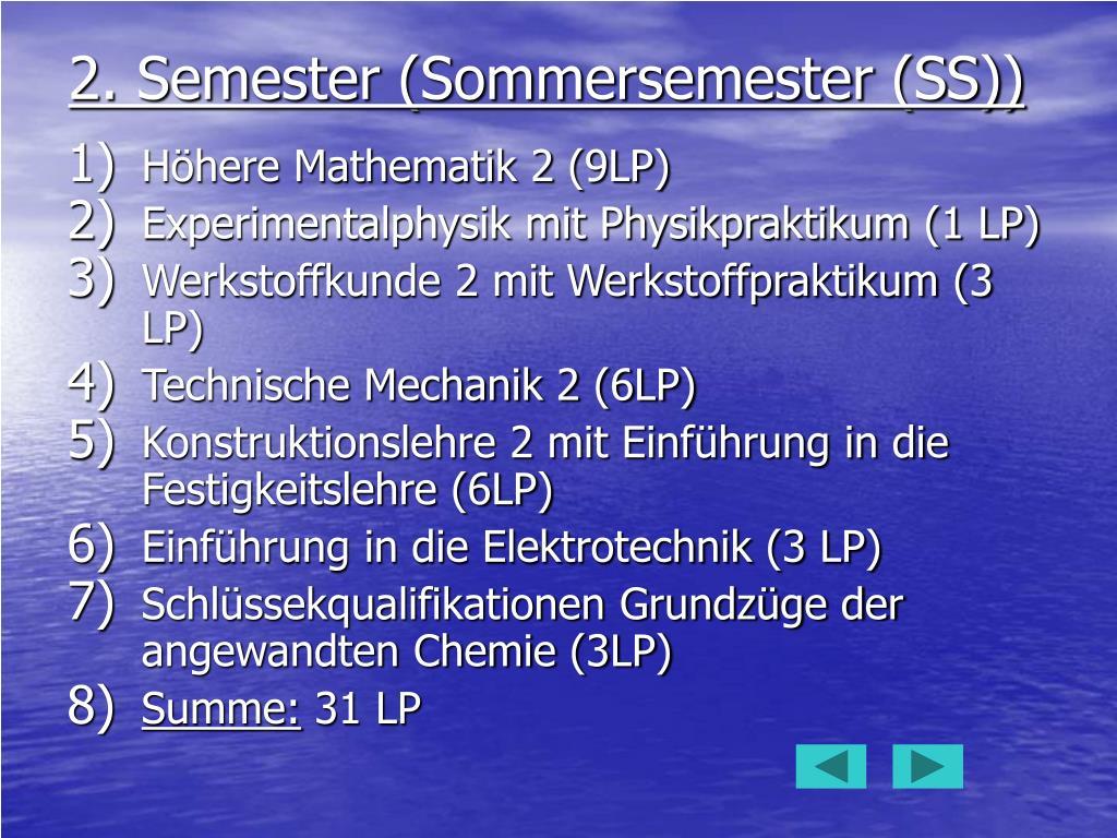 2. Semester (Sommersemester (SS))