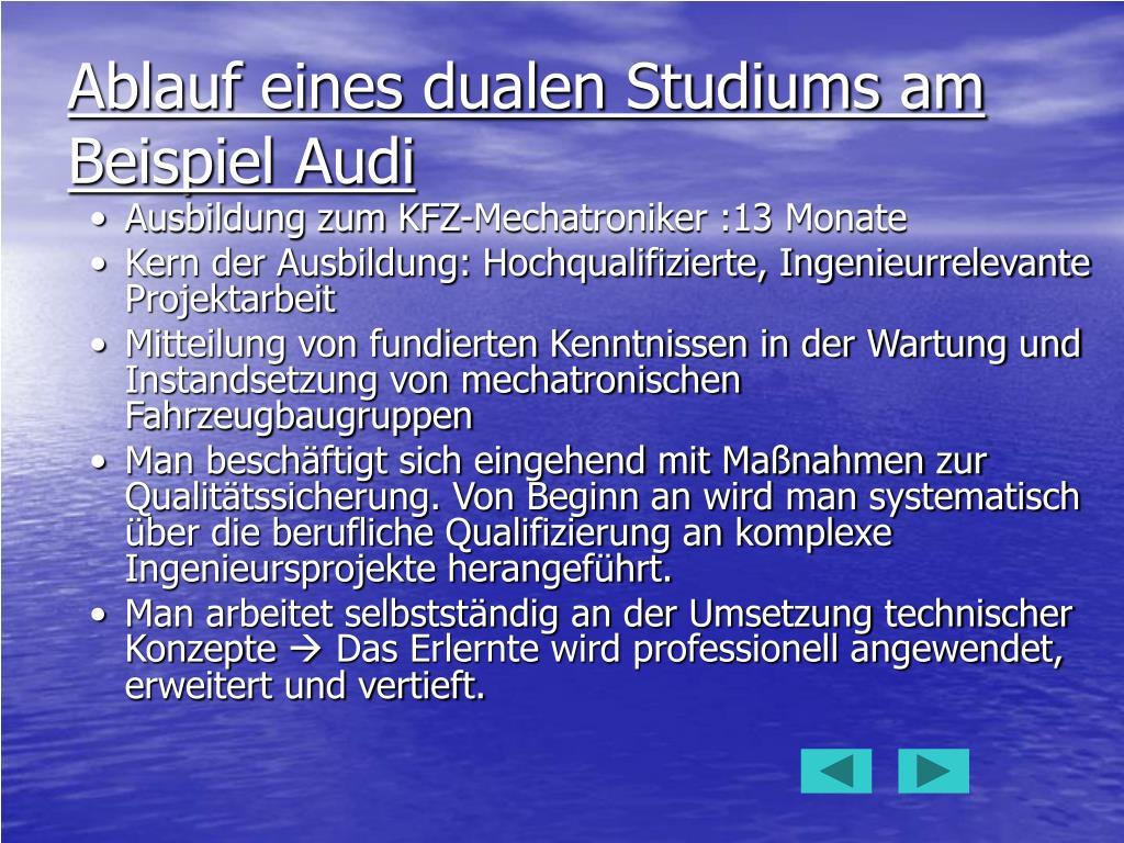 Ablauf eines dualen Studiums am Beispiel Audi