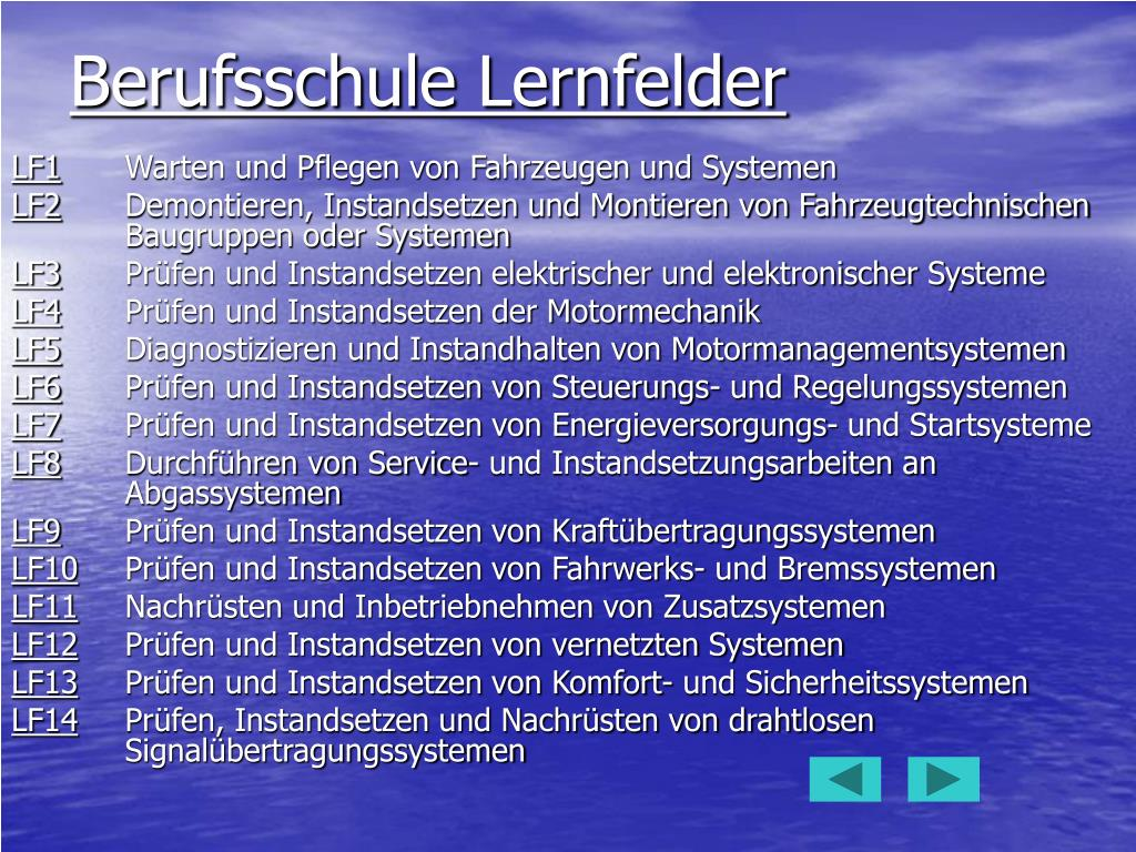 Berufsschule Lernfelder