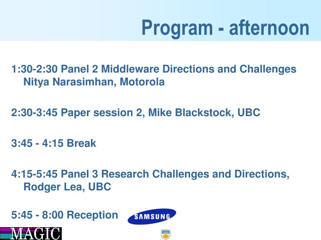 Program - afternoon