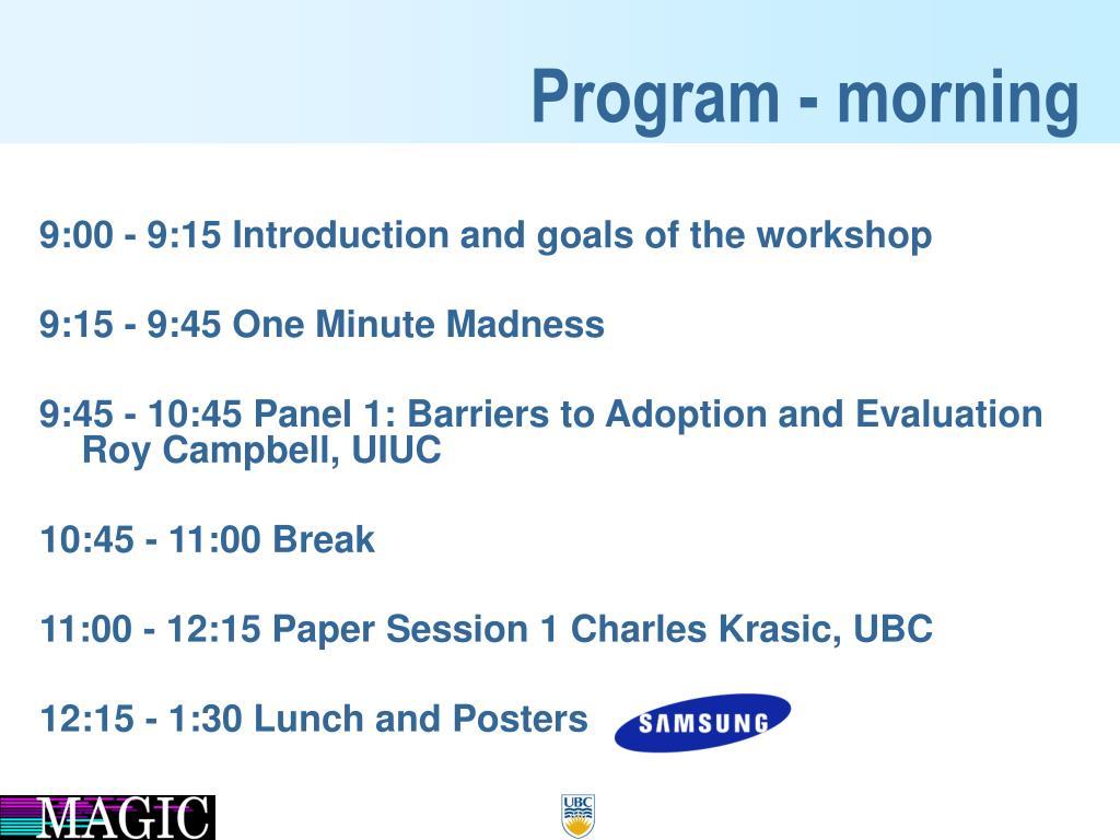 Program - morning