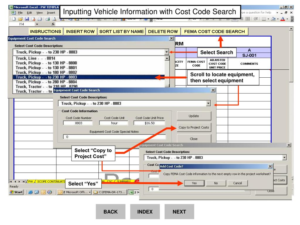 Inputting Vehicle Information with Cost Code Search