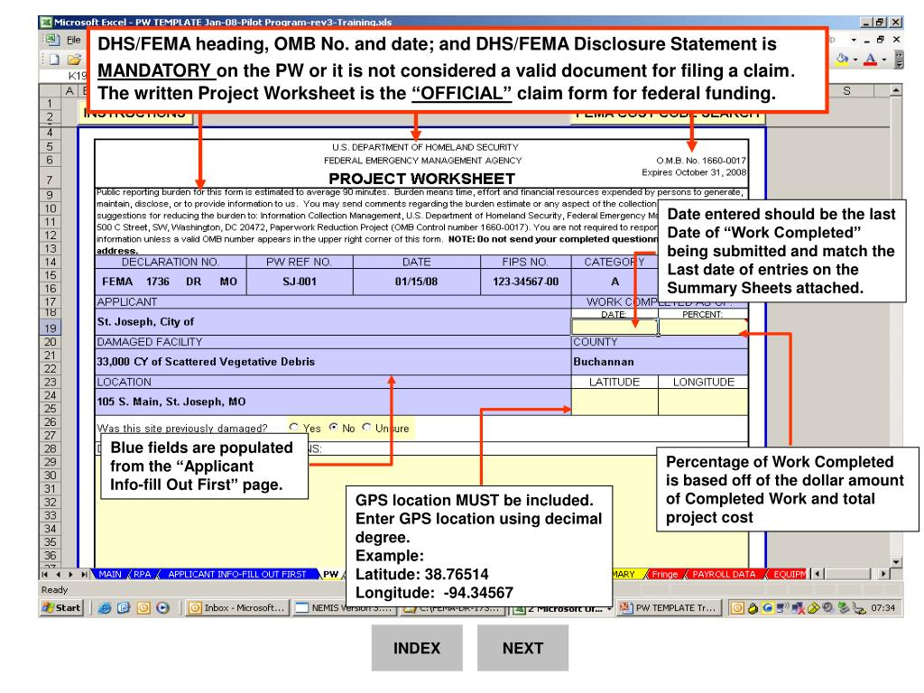 DHS/FEMA heading, OMB No. and date; and DHS/FEMA Disclosure Statement is
