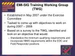 emi sig training working group twg