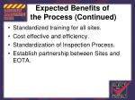 expected benefits of the process continued