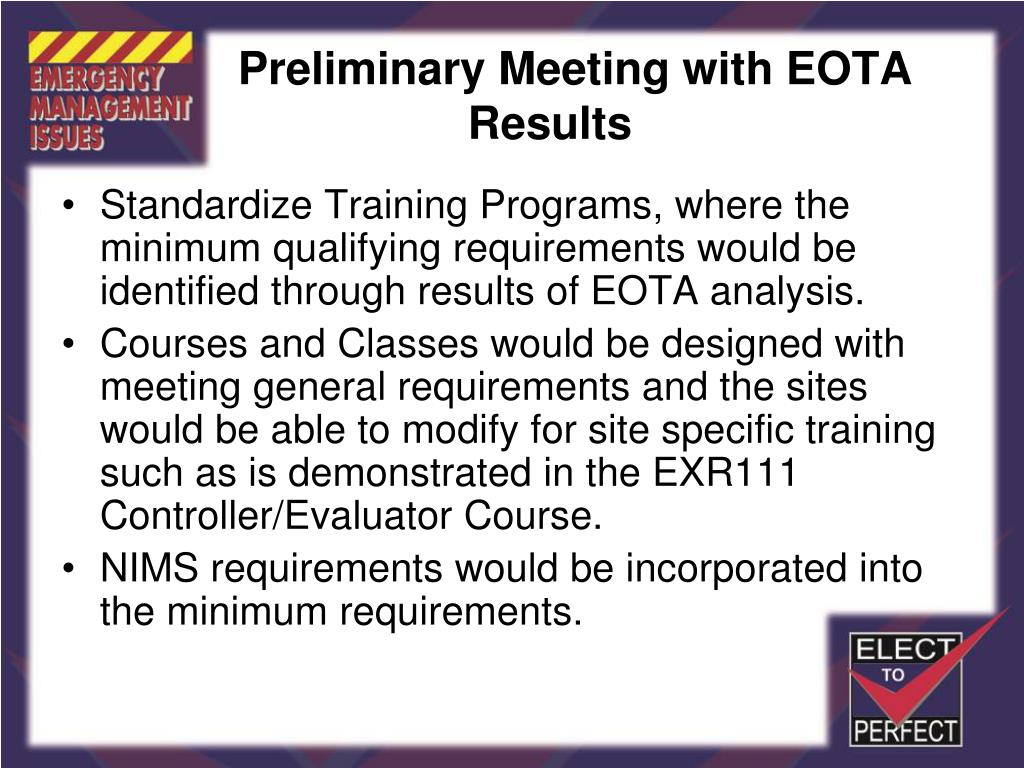 Preliminary Meeting with EOTA