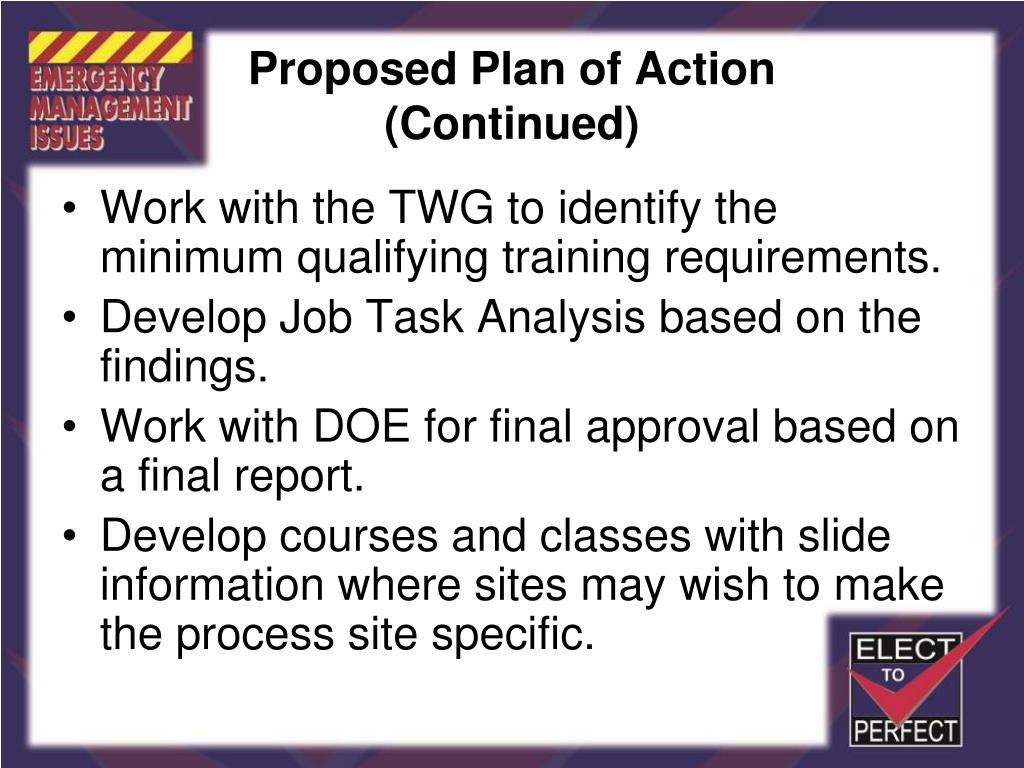Proposed Plan of Action
