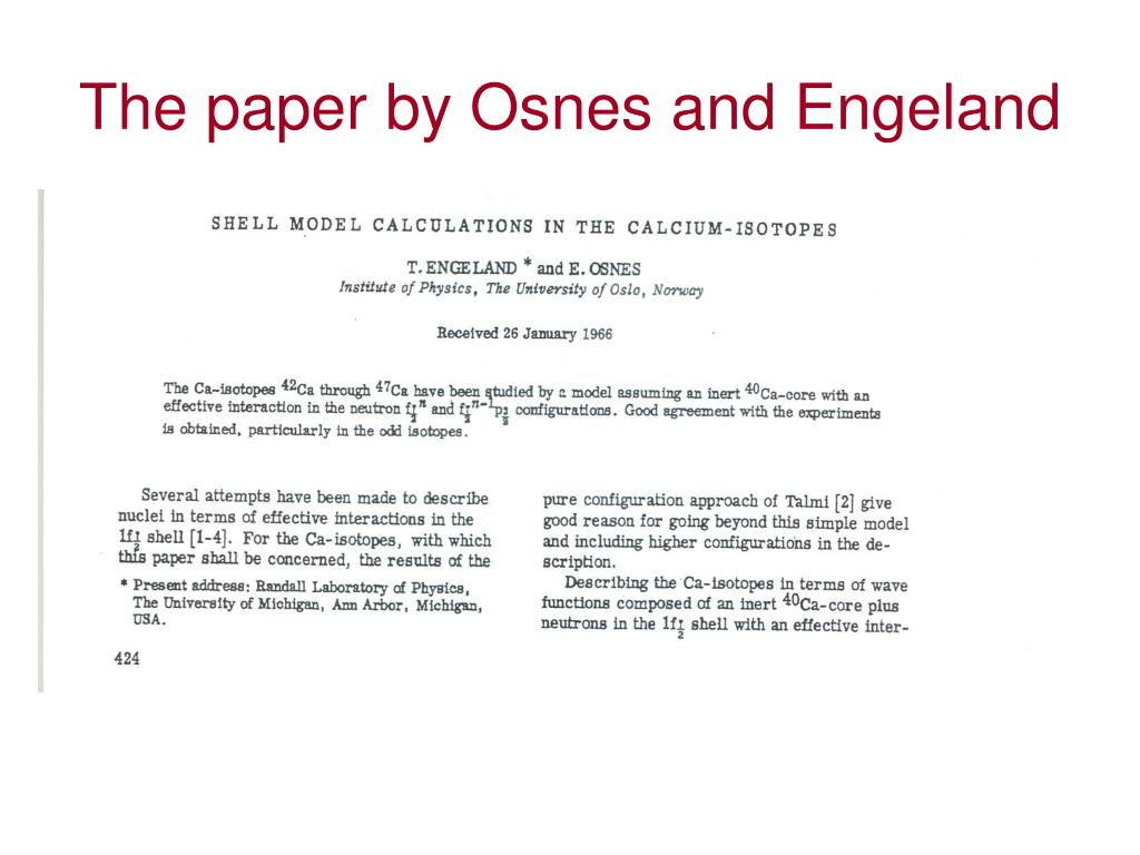 The paper by Osnes and Engeland
