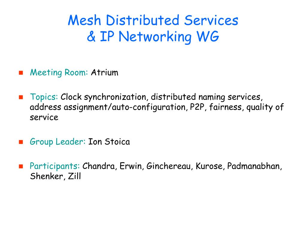 Mesh Distributed Services