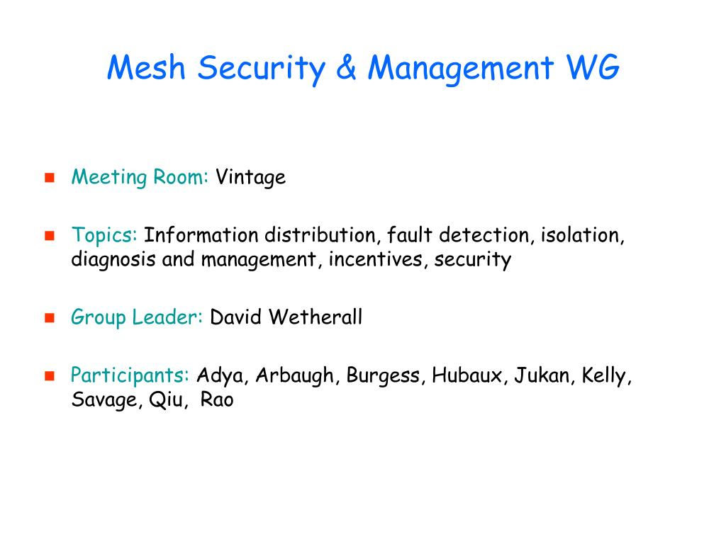 Mesh Security & Management WG