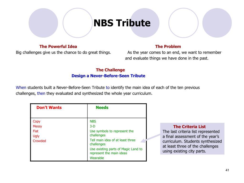 NBS Tribute