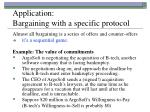 application bargaining with a specific protocol