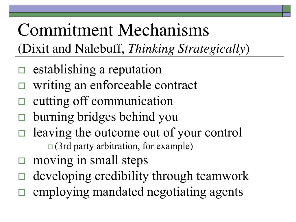 Commitment Mechanisms