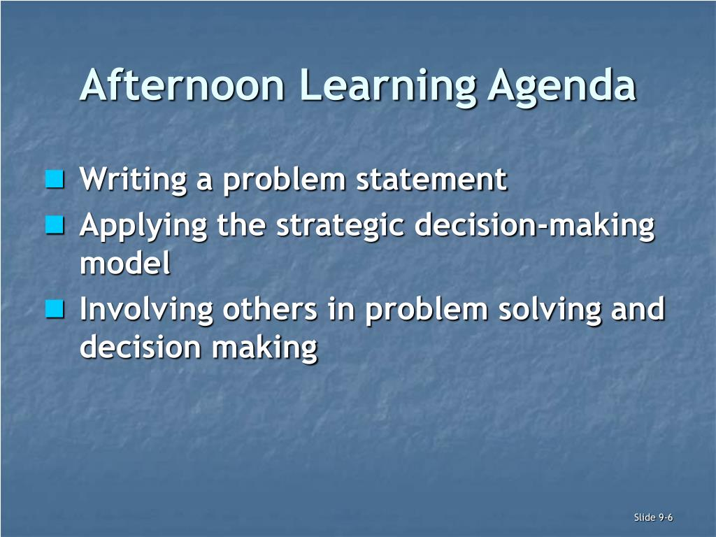 Afternoon Learning Agenda