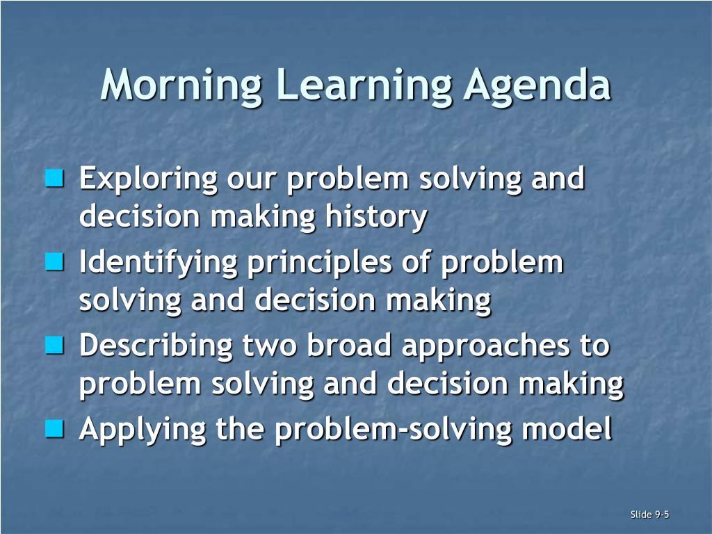 Morning Learning Agenda