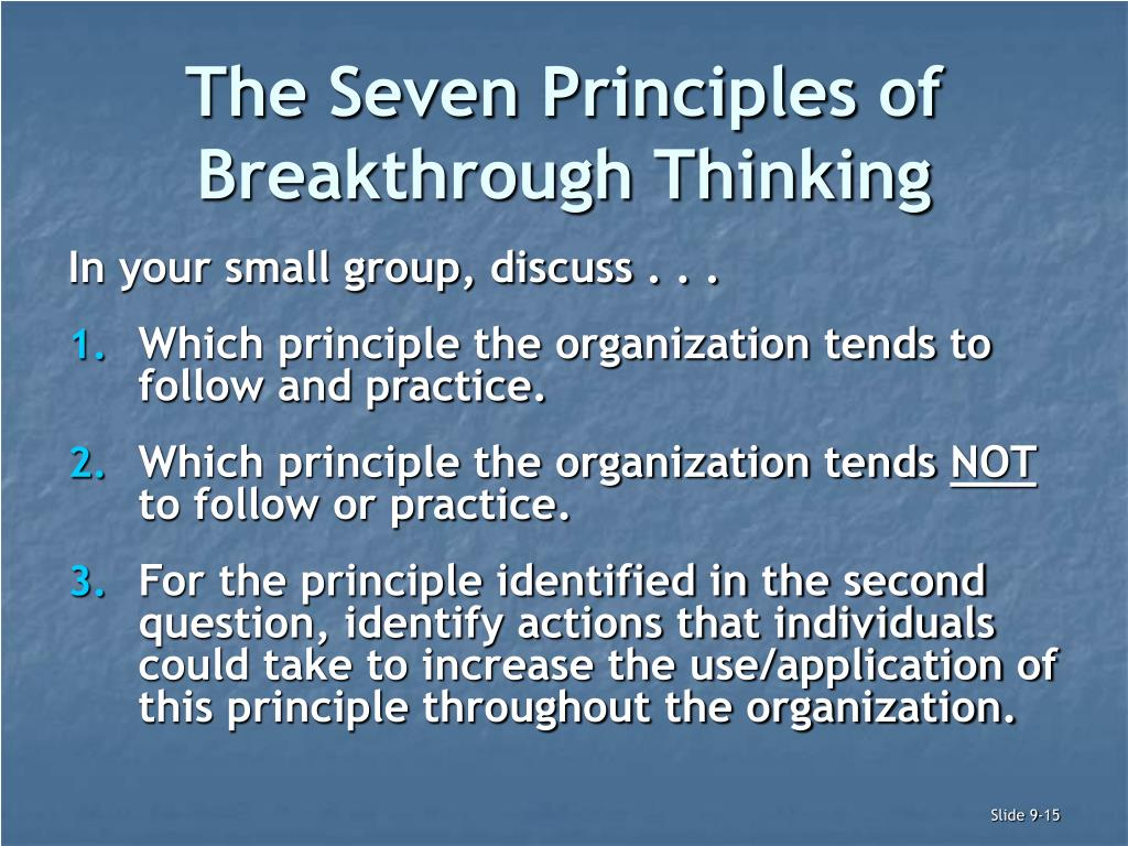 The Seven Principles of Breakthrough Thinking