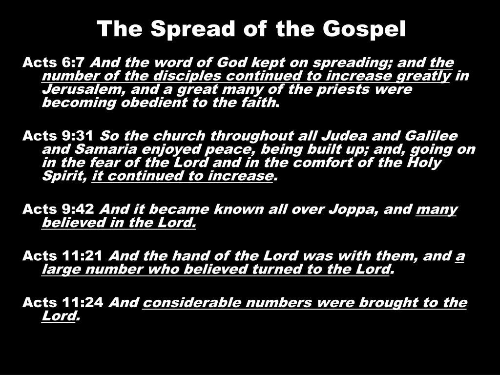 The Spread of the Gospel