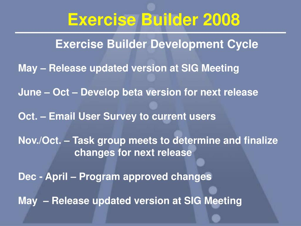 Exercise Builder Development Cycle