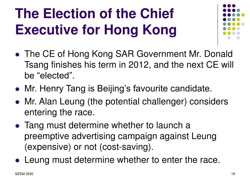 The Election of the Chief Executive for Hong Kong