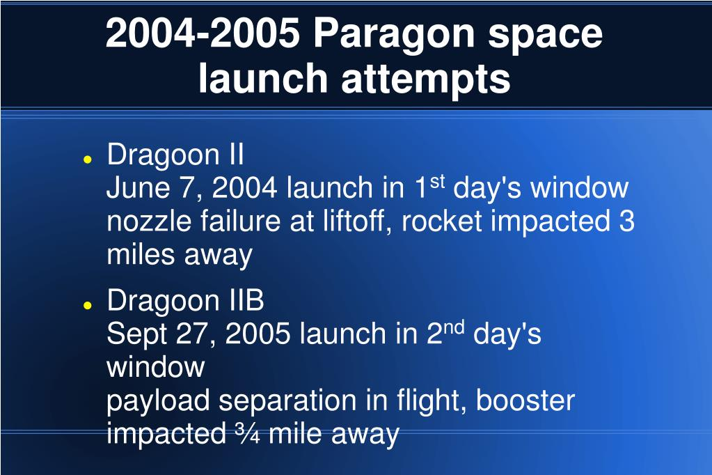 2004-2005 Paragon space launch attempts