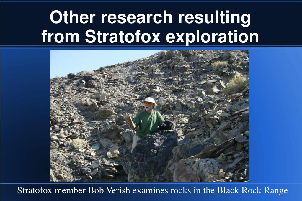 Other research resulting from Stratofox exploration