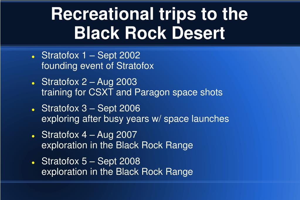 Recreational trips to the Black Rock Desert