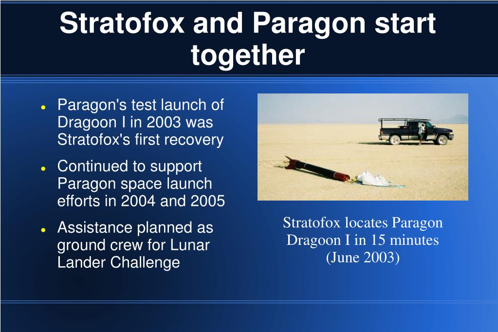 Stratofox and Paragon start together