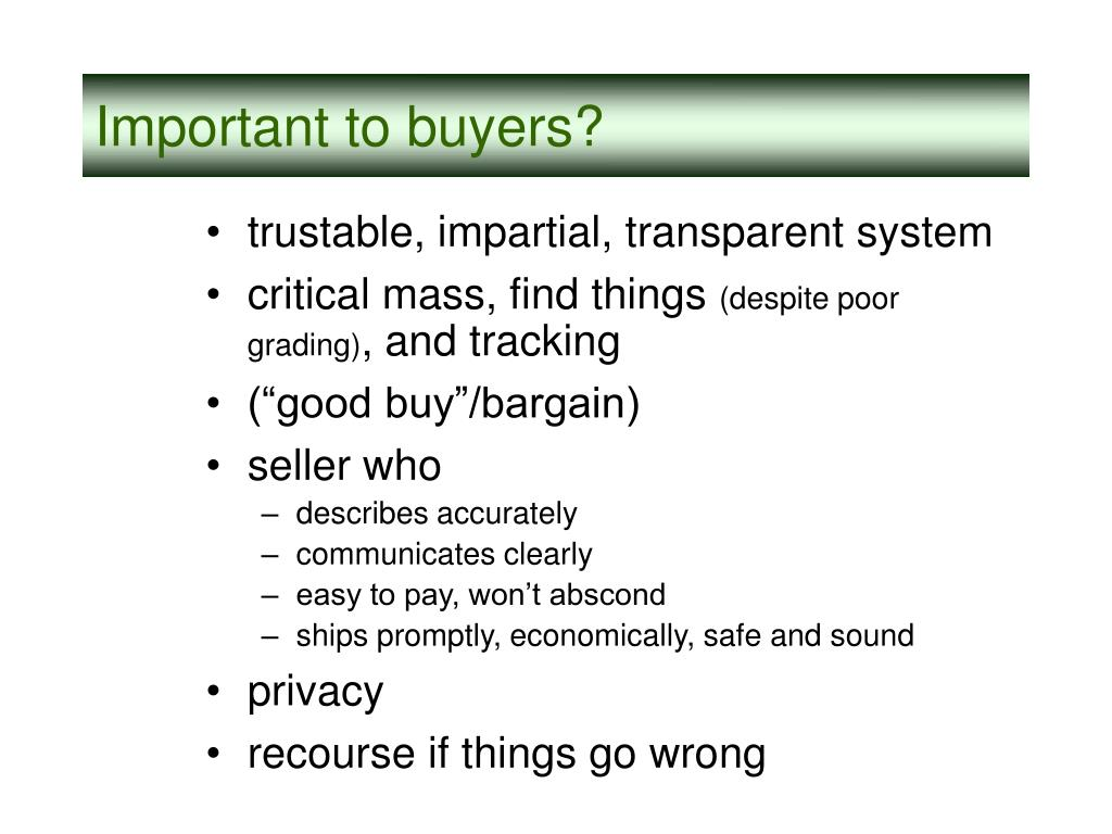 Important to buyers?